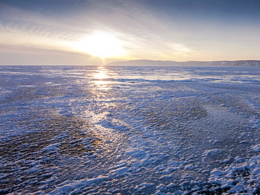 One metre thick ice on the surface of frozen Lake Baikal, Village of Listvyanka near Irkutsk, Siberia, Russia, Eurasia