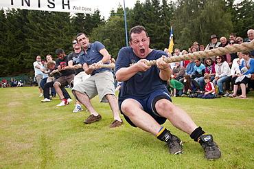 Tug of war team, Abernethy Highland Games, Scotland, United Kingdom, Europe