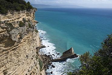 Rocky cliffs on the Andalucian Atlantic coast, Brena y Marismas de Barbate park, Andalucia's second largest coastal reserve, Andalucia, Spain, Europe