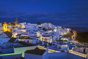 Evening rooftop views of the whitewashed village (Pueblos blanca) of Vejer de la Frontera, Cadiz province, Andalucia, Spain, Europe