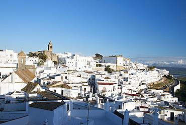 Rooftop views of the whitewashed village (Pueblos blanca) of Vejer de la Frontera, Cadiz province, Andalucia, Spain, Europe