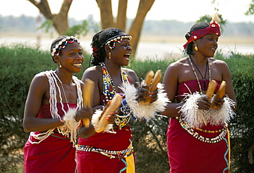 Dancers at the airport, the Gambia, West Africa, Africa