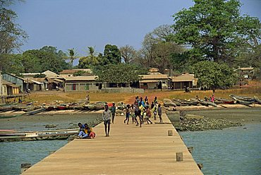 Locals on jetty, Albreda, The Gambia, West Africa, Africa