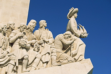 Detail of figures on the Monument to the Discoveries at Belem, Lisbon, Portugal, Europe