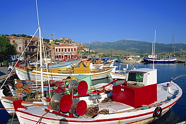 Fishing boats moored in harbour at Molyvos, Lesbos, North Aegean Islands, Greek Islands, Greece, Europe