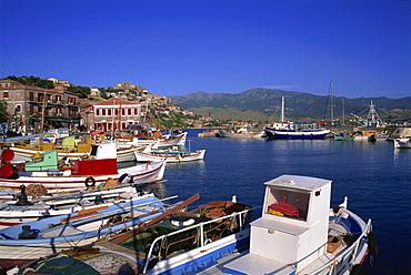 Harbour, Molyvos, Lesbos, Greek Islands, Greece, Europe
