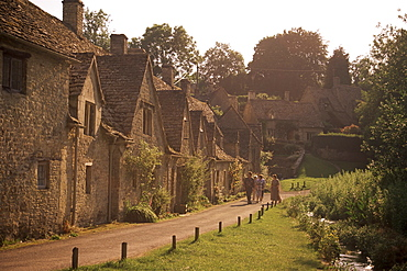 Houses dating from the 14th century, Arlington Row, Bibury, Gloucestershire, The Cotswolds, England, United Kingdom, Europe