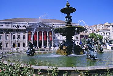 National Theatre, Rossio Square, Lisbon, Portugal, Europe