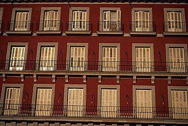 Balconies, Plaza Mayor, Madrid, Spain, Europe