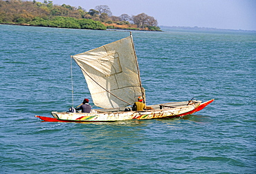 Canoe with sail, River Gambia, the Gambia, West Africa, Africa
