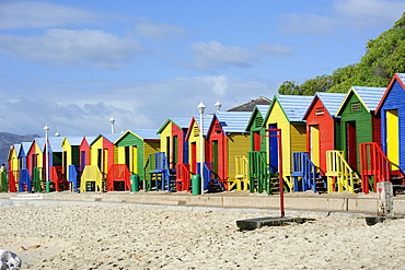 Colourful beach huts, St. James Bay, Cape Province, South Africa, Africa