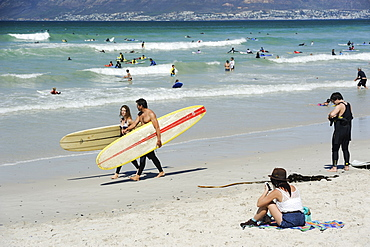 Beach, sea and surfers, Muizenberg, Cape Province, South Africa, Africa
