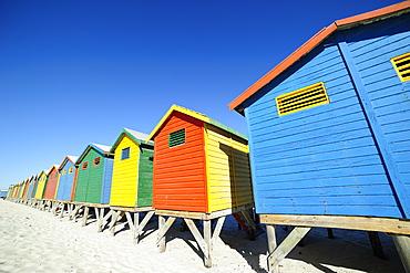 Colourful beach huts, Muizenberg, Cape Province, South Africa, Africa