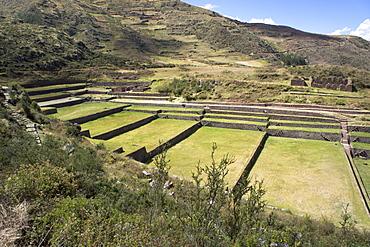 Inca terracing, Tipon, the Sacred Valley, Peru, South America