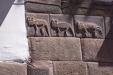 Inca carving on wall, probably foxes, centre of Cuzco, UNESCO World Heritage Site, Peru, South America