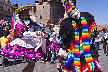 The festivities of Corpus Christi, the most important religious festival in Peru, held in Cuzco, Peru, South America