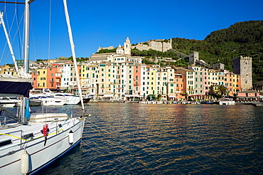 Early morning, harbour and town, Porto Venere, Cinque Terre, UNESCO World Heritage Site, Liguria, Italy, Europe