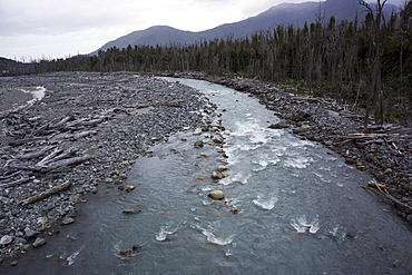 River in the Andes, destruction caused by earthquake, Patagonia, Chile, South America