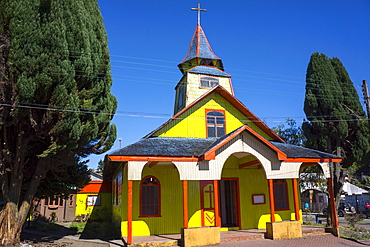 All wood church in the fishing village of Quemchi, island of Chiloe, Chile, South America