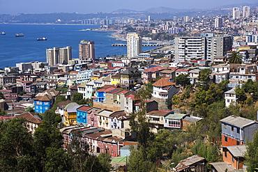 Aerial view, Valparaiso, UNESCO World Heritage Site, Chile, South America