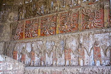 Huaca del Sol y de la Luna, precolombian (Moche) structure, polychrome friezes, Peru, South America
