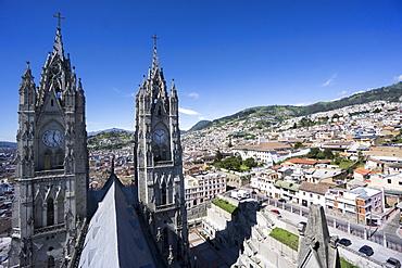 Basilica del Voto Nacional (Basilica of the National Vow), and city view, Quito, Ecuador, South America