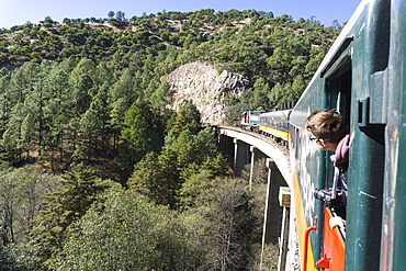 The El Chepe railway from Fuerte to Creel along the Copper Canyon, Mexico, North America
