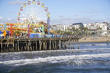 Sea, pier and ferris wheel, Santa Monica, California, United States of America, North America