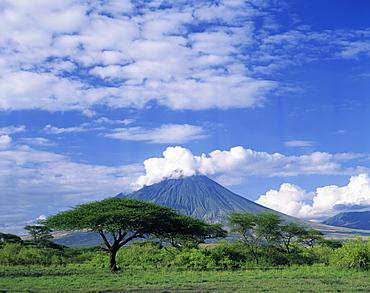 The volcano Ol Doinyo Lengai, the Masai's Holy Mountain, Tanzania, East Africa, Africa