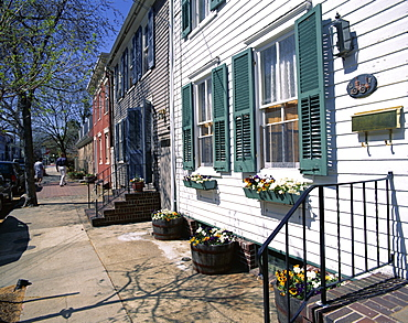 Exterior of houses on a typical street, Annapolis, Maryland, United States of America (USA), North America