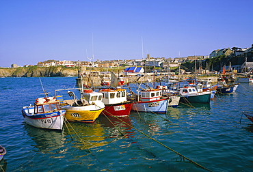 Small boats in the harbour, Newquay, Cornwall, England, UK