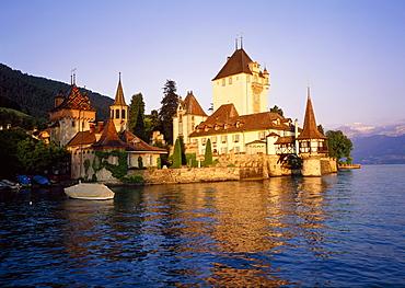 The Oberhofen Castle on Lake Thun in Switzerland