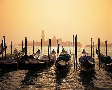 Gondolas and the church of San Giorgio Maggiore, Venice, Veneto, Italy, Europe