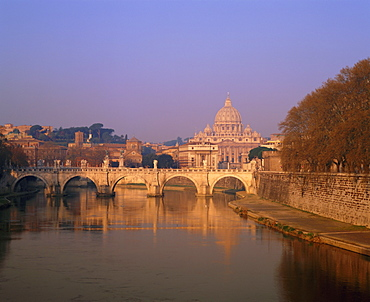 Dome of St. Peters and skyline of the Vatican above the Tiber River, Rome, Lazio, Italy, Europe