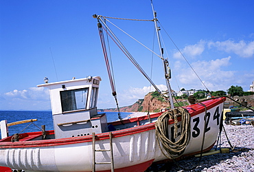 Fishing boat, Budleigh Salterton, Devon, England, United Kingdom, Europe