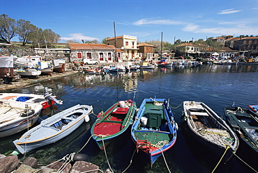 Skala Polichnitos boats and harbour, Lesbos, Greece, Europe