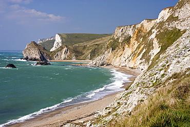 St. Oswald's Bay beach and cliffs, Dorset, England, United Kingdom, Europe
