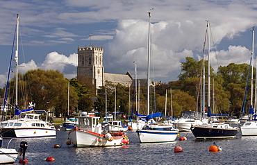 Christchurch Priory and River Stour, Dorset, England, United Kingdom, Europe