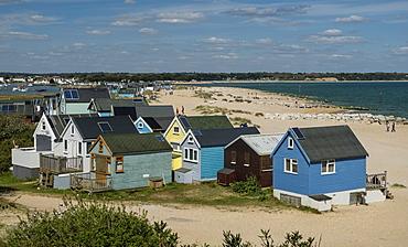 Beach Huts, Mudeford Spit, Christchurch Harbour, Christchurch Bay, Dorset, England, United Kingdom, Europe