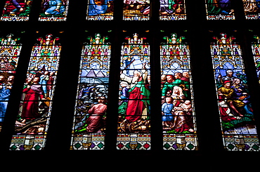Detail of interior of Great West Window, showing Moses crossing the Red Sea, Gloucester Cathedral, Gloucester, Gloucestershire, England, United Kingdom, Europe