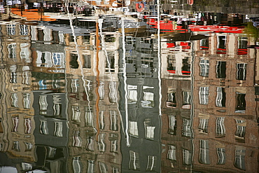 Reflections in inner harbour, Honfleur, Normandy, France, Europe