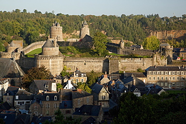 Castle and old town, Fougeres, Brittany, France, Europe