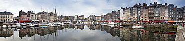 Panorama of inner harbour, Honfleur, Normandy, France, Europe