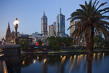 St. Paul's Cathedral, City Centre and Yarra River at dusk, Melbourne, Victoria, Australia, Pacific