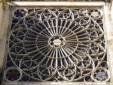 South transept rose window exterior, Troyes Cathedral, Champagne-Ardenne, France, Europe