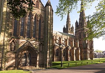 Lichfield Cathedral, West spires and North Front, Lichfield, Staffordshire, England, United Kingdom, Europe