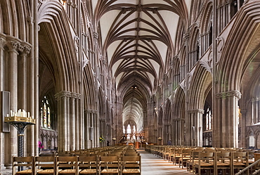 Nave looking east, Lichfield Cathedral, Staffordshire, England, United Kingdom, Europe