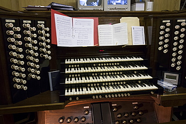 The organ console, Bangor Cathedral, Wales, United Kingdom, Europe