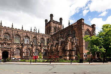 Chester Cathedral, tower and South transept from Southwest, Chester, Cheshire, England, United Kingdom, Europe