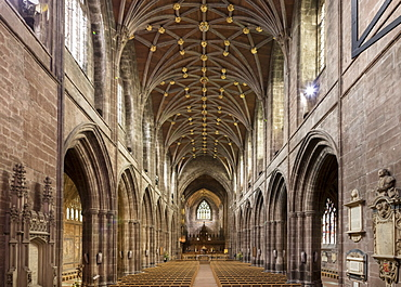 Chester Cathedral, interior looking East, Cheshire, England, United Kingdom, Europe